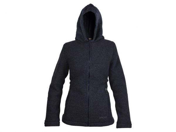 Engel Damen Fleece-Kapuzenjacke aus Bio-Merinowolle dunkelblau, Gr. 38/40
