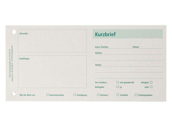 memo Formularblock Kurzbrief DIN lang, 100 Blatt