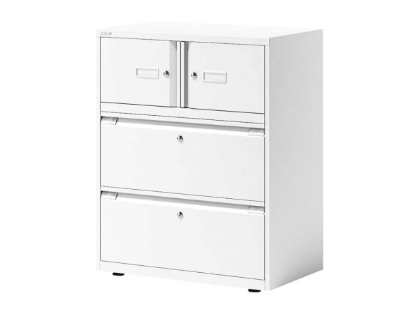 BISLEY Registraturschrank 2-bahnig, 2 Schubladen & 2 Türen verkehrsweiß