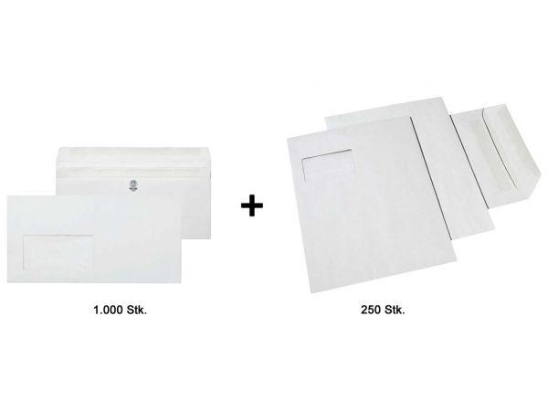 1.000 Briefumschläge DL SK mF grau + 250 Versandtaschen C4 SK mF grau