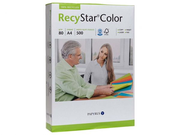 "500 Blatt Farbiges Recycling-Kopierpapier ""RecyStar Color"" A4 moosgrün"