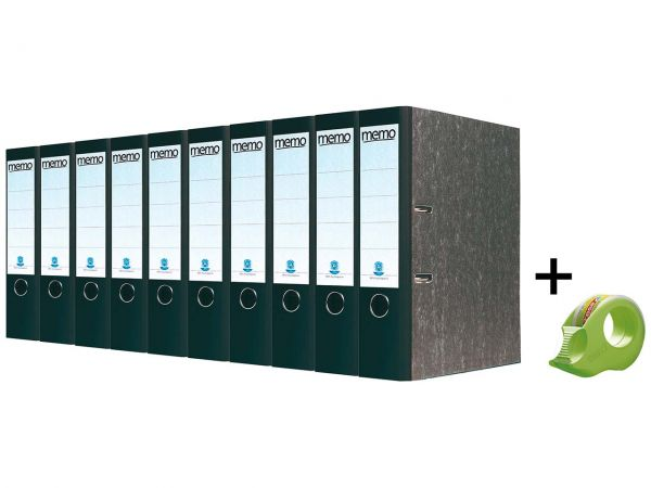 10 memo Recyclingordner 8 cm schwarz & tesa Mini-Klebebandabroller inkl. 2 Klebebänder