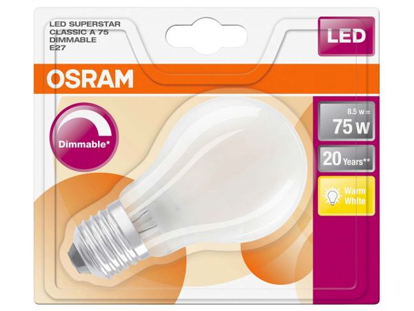 "OSRAM LED-Lampe ""Superstar Filament"" CLA 75, 8,5 W, E27, 1.055 lm, 827"