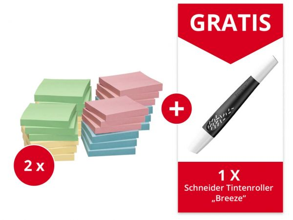 24er-Pack Info Haftnotizen 75 x 75 mm, far. sortiert + Gratis Schneider Tintenrolle