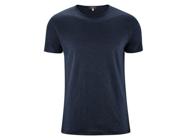 """Living Crafts Bio-Herren-T-Shirt """"Andy"""" aus Leinen ink blue, Gr. S"""