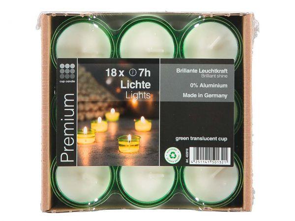 Cup Candle 18 Teelichter mit grüner Hülle, ca. 7 h