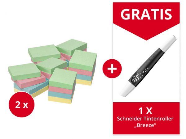 24er-Pack Info Haftnotizen 50 x 40 mm, farb. sortiert + Gratis Schneider Tintenrolle