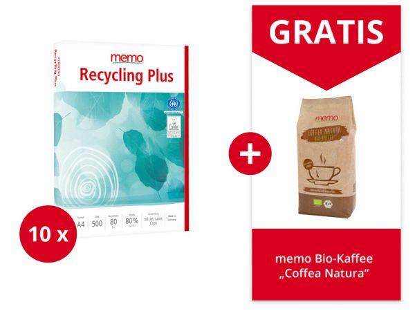 "5.000 Blatt memo Kopierpapier ""Recycling Plus"" DIN A4 & Gratis memo Bio-Kaffee 500 g"