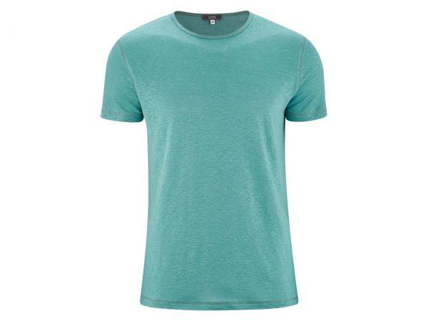 """Living Crafts Bio-Herren-T-Shirt """"Andy"""" aus Leinen lagoon, Gr. S"""