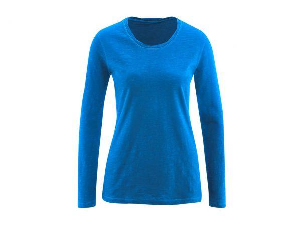 """Living Crafts Bio-Damen-Langarmshirt """"Bella"""" royalblau, 155 g/m², Gr. XL"""