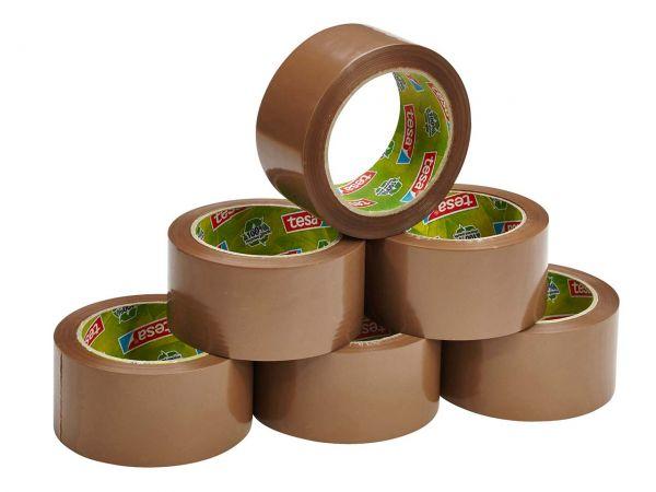 6 tesa Packband aus 100 % Recyclingkunststoff, braun, Stärke 65 µ