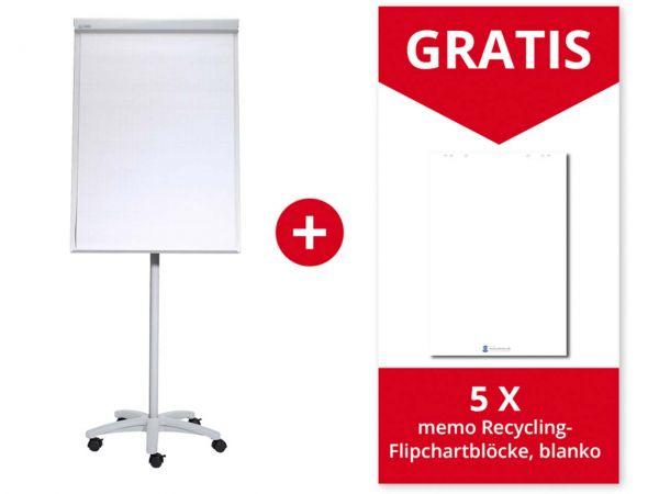 "MAUL Flipchart ""MAULoffice"" mit Sternfuß grau + 5 memo Recycling-Flipchartblöcke, blanko"