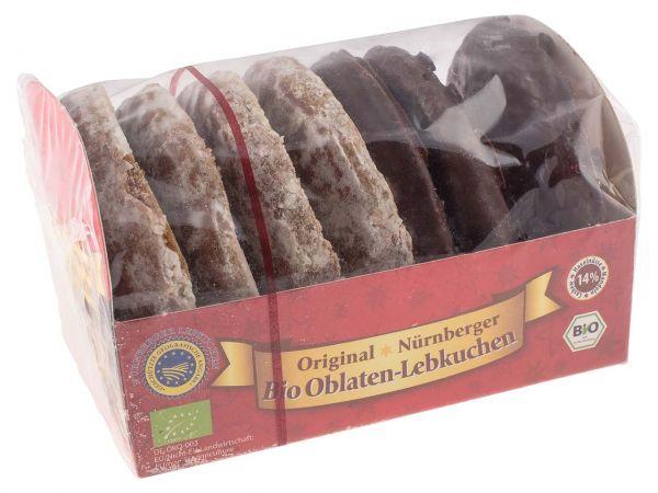 Feine Nürnberger Bio-Oblaten-Lebkuchen, 2-fach sortiert, schokoliert/glasiert, 200 g