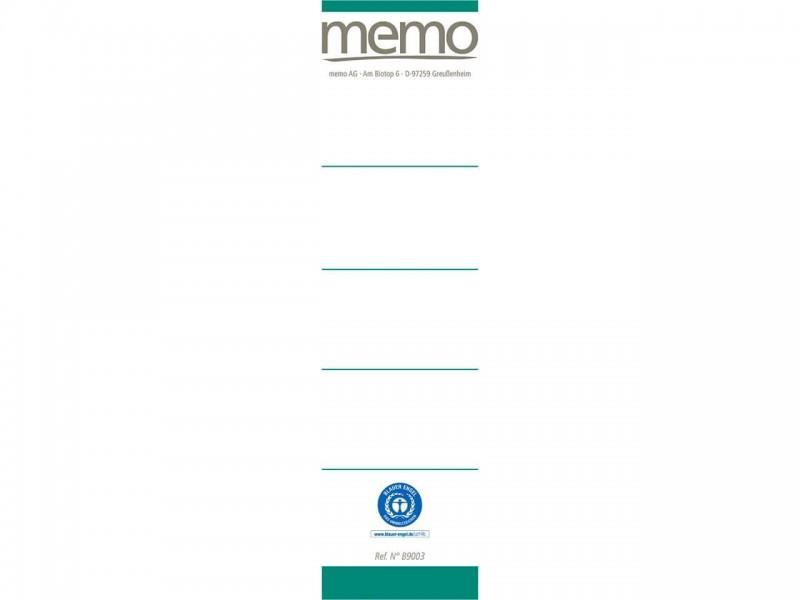 memo Ordneretiketten aus 100 % Altpapier und lösemittelfreiem Kleber