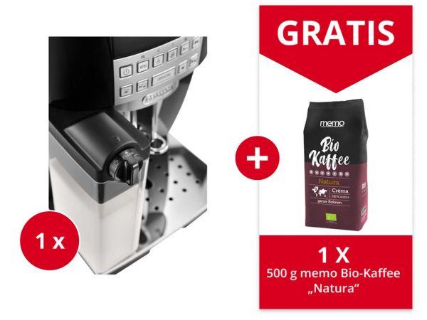 "De'Longhi Kaffeevollautomat ""ECAM 22.366.B"" + Gratis 500 g memo Bio-Kaffee ""Natura"""