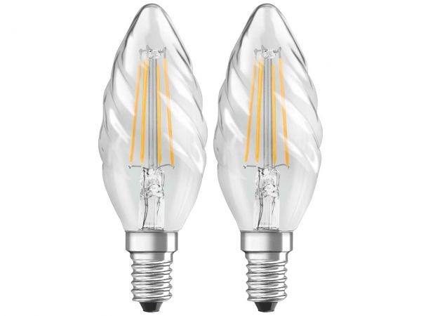 "2er-Pack OSRAM LED-Lampe ""Star Filament"", CLBW 40, 4 W, E14"