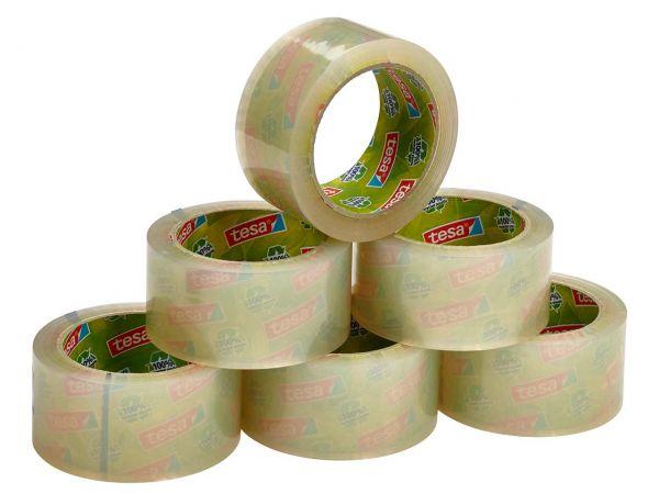 6 tesa Packband aus 100 % Recyclingkunststoff, transparent, Stärke 65 µ